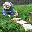Alan highlighting gravestone